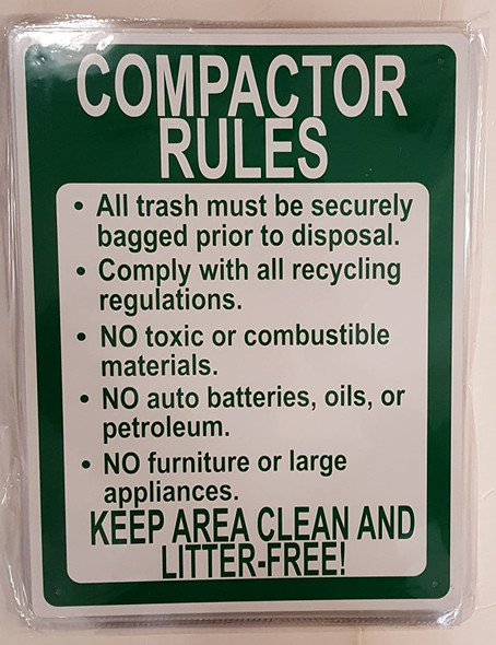 SIGNS COMPACTOR RULES KEEP AREA CLEAN AND