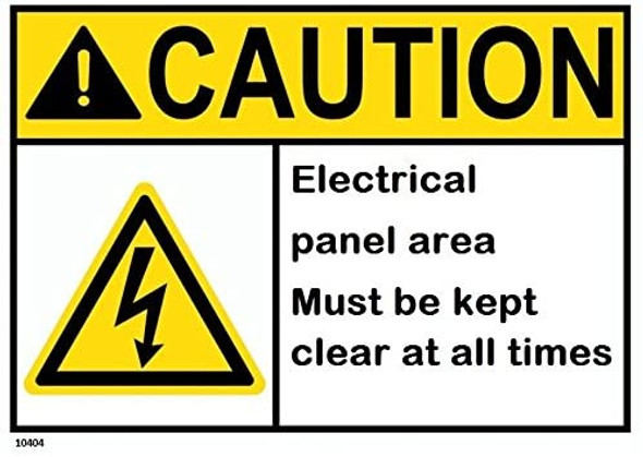 Caution Electrical panel area must be
