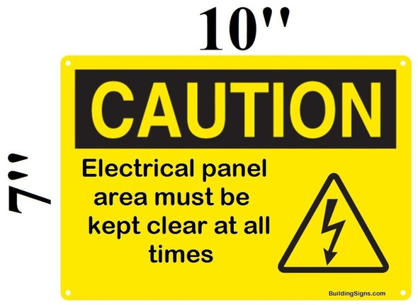 SIGNS Caution Electrical panel area must be