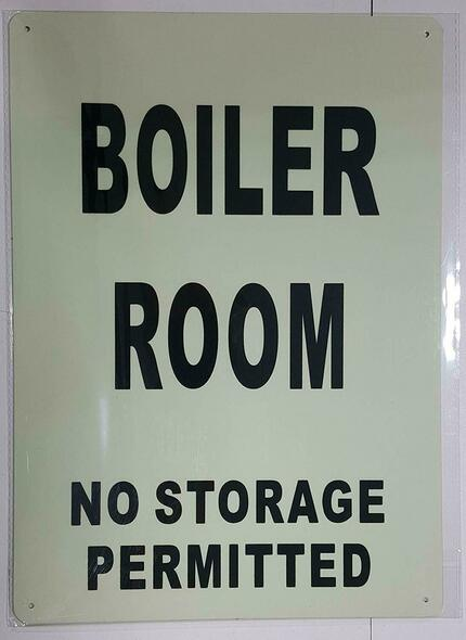 BOILER ROOM NO STORAGE PERMITTED SIGN