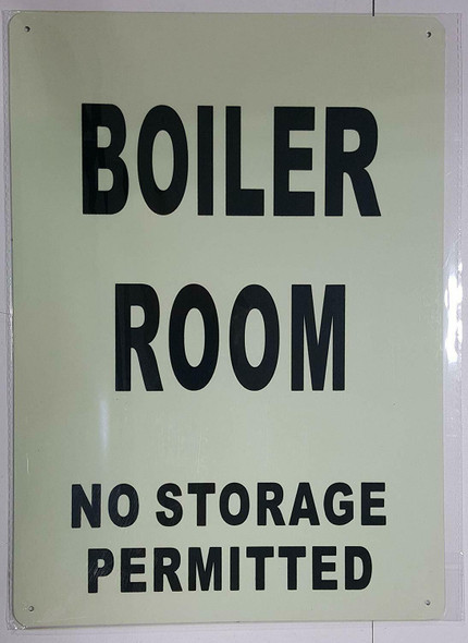 SIGNS BOILER ROOM NO STORAGE PERMITTED SIGN