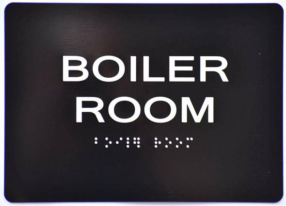SIGNS BOILER ROOM SIGN Tactile Signs (BLACK)