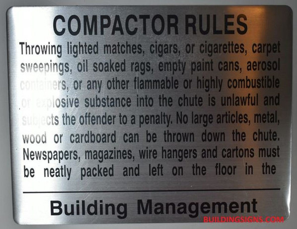 COMPACTOR RULES SIGN (ALUMINUM SIGNS 8.5X11,