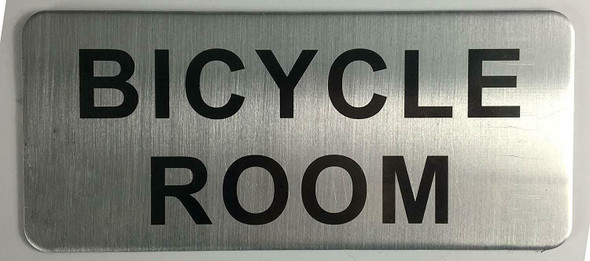 SIGNS BICYCLE ROOM SIGN - BRUSHED ALUMINUM