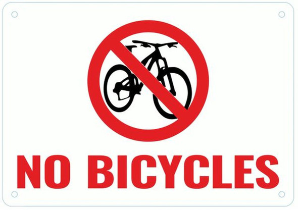 NO BICYCLES SIGN- WHITE BACKGROUND RED