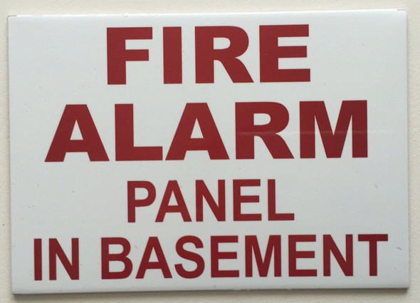 SIGNS FIRE ALARM PANEL IN BASEMENT SIGN