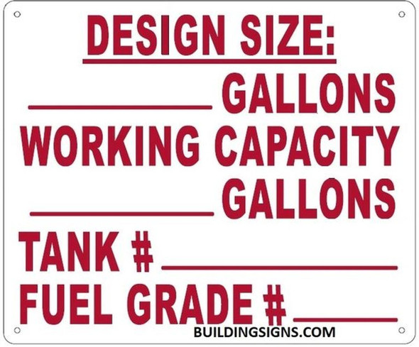 SIGNS TANK WORKING CAPACITY SIGN (WHITE, ALUMINUM