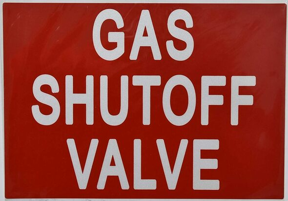 GAS SHUTOFF VALVE SIGN (STICKER 7X10)
