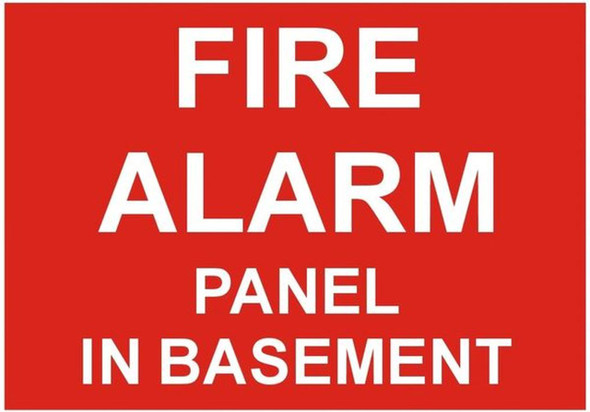 FIRE ALARM PANEL IN BASEMENT SIGN