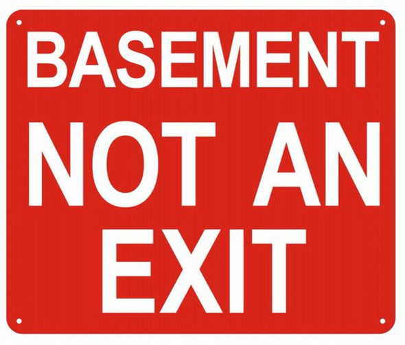 SIGNS BASEMENT NOT AN EXIT SIGN (red,ALUMINUM