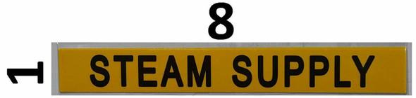 STEAM SUPPLY SIGN (STICKER 1X8) YELLOW-(ref062020)
