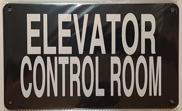 ELEVATOR CONTROL ROOM SIGN (BLACK, ALUMINUM