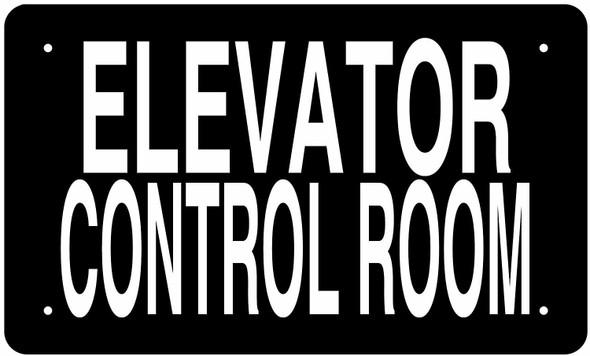 SIGNS ELEVATOR CONTROL ROOM SIGN (BLACK, ALUMINUM