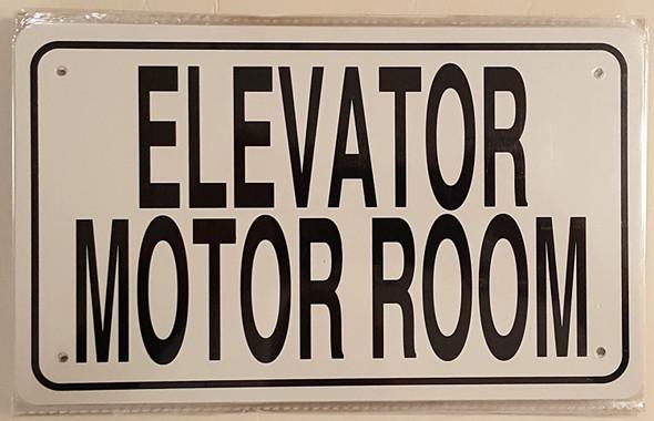 ELEVATOR MOTOR ROOM SIGN- WHITE ALUMINUM