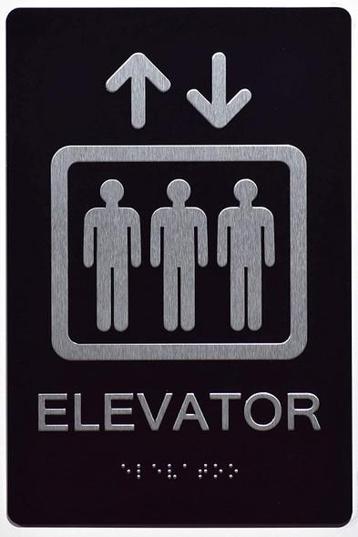 Elevator SIGN ADA-6x9 black-(ref062020)