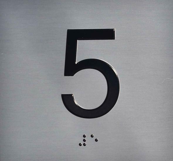 SIGNS ELEVATOR JAMB- 5 - SILVER (ALUMINUM