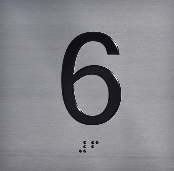 ELEVATOR JAMB- 6 -SILVER (ALUMINUM SIGNS