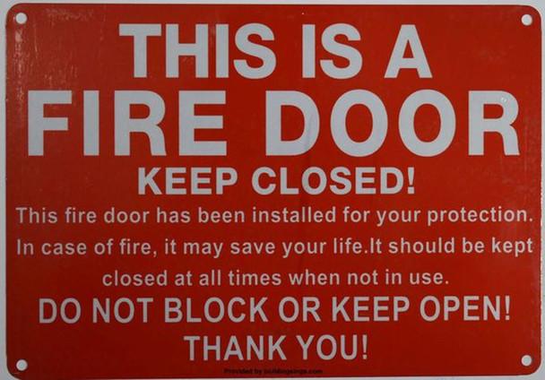FIRE DOOR SIGN RED