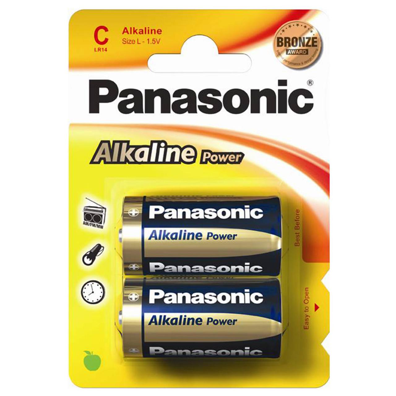 Panasonic Alkaline Power Bronze C Lr14 Batteries 2 Pack