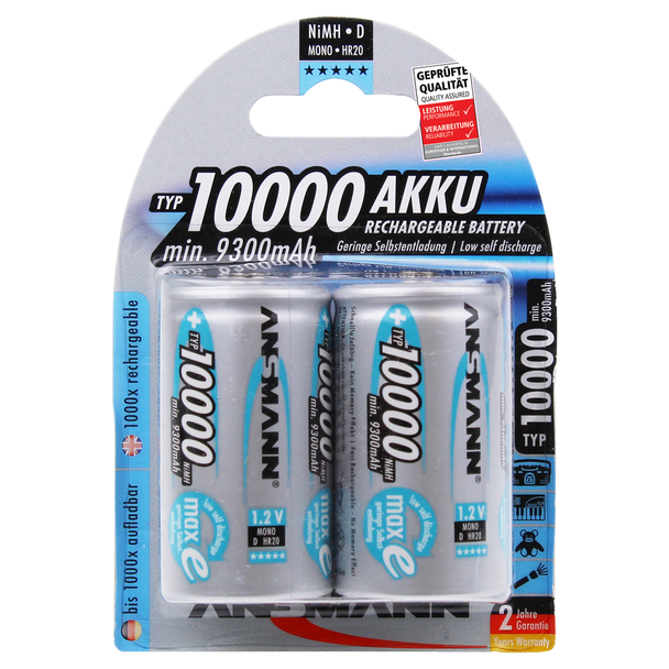 Ansmann High Capacity D HR20 10000mAh Rechargeable Batteries   2 Pack