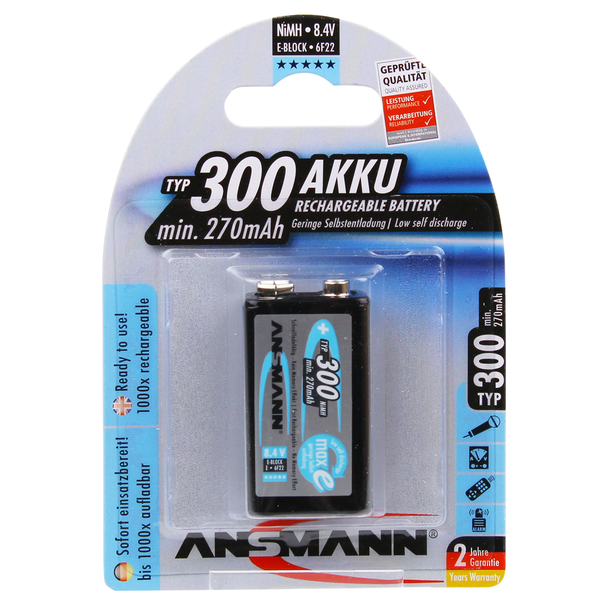 Ansmann Max-E 9V PP3 HR22 300mAh Pre-charged Rechargeable Battery | 1 Pack
