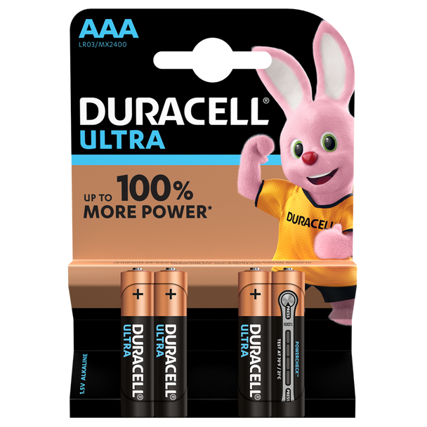 Duracell Ultra Power AAA LR03 Batteries | 4 Pack