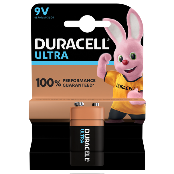 Duracell Ultra Power 9V PP3 6LR61 Battery | 1 Pack