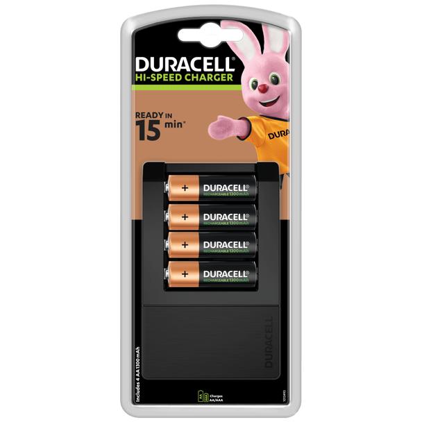 Duracell Hi-Speed Expert Battery Charger CEF15 inc 4 x AA Batteries