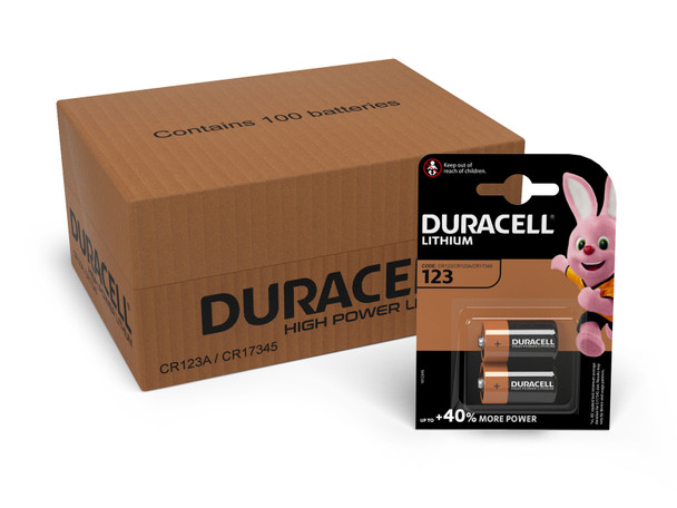 Duracell Lithium DL123 CR123A Batteries | 100 Pack