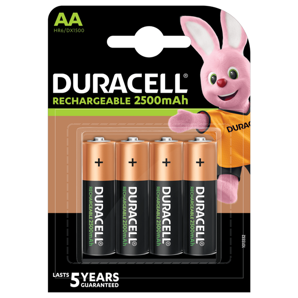 Duracell Rechargeable AA HR6 2500mAh Pre-Charged Rechargeable Batteries | 4 Pack