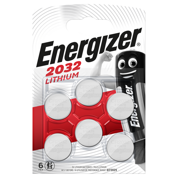 Energizer CR2032 Lithium Coin Cell Batteries | 6 Pack