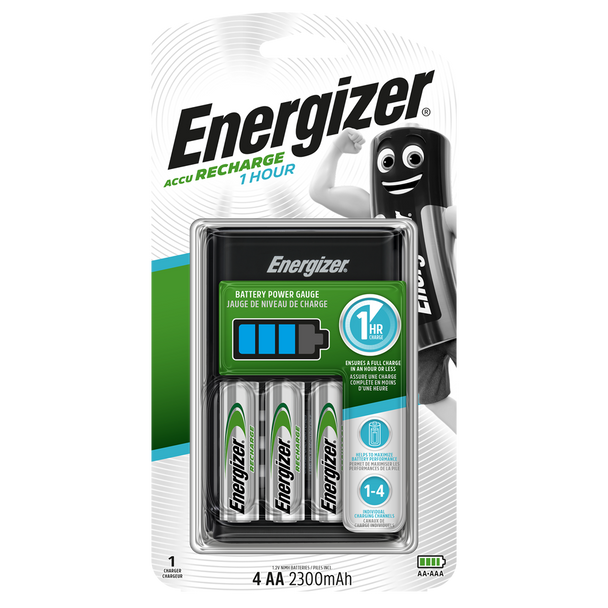 Energizer 1 Hour Battery Charger | Inc 4 x 2300mAh AA Rechargeable Batteries