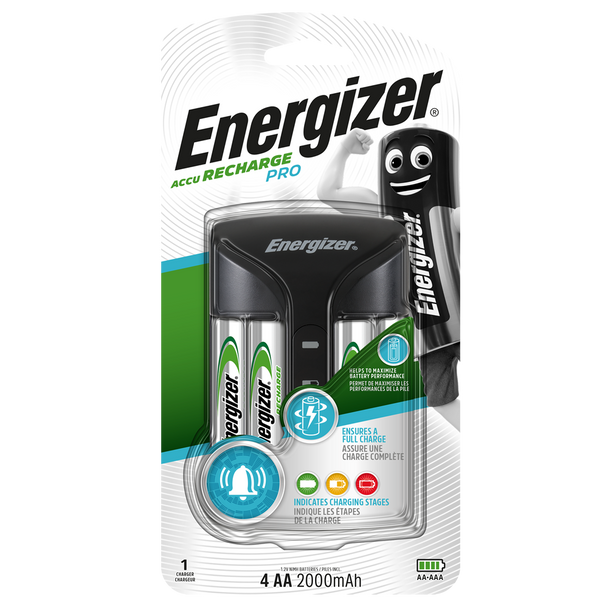 Energizer Pro Charger | Inc 4 x AA 2000mAh Rechargeable Batteries