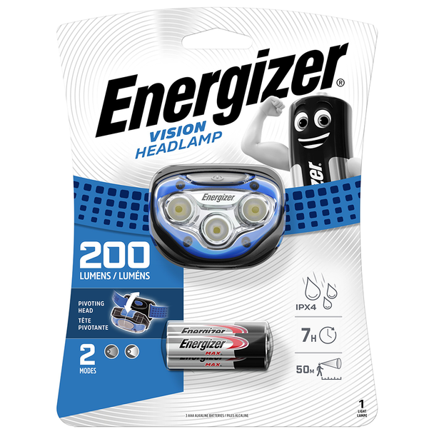 Energizer Vision LED Headlight | 200 Lumens | Batteries Included