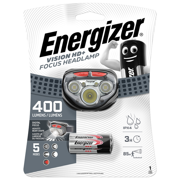 Energizer Vision HD+ Focus LED Headlight | 400 Lumens | Batteries Included