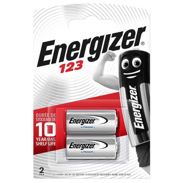 Energizer 123 CR123A Lithium Batteries | 2 Pack