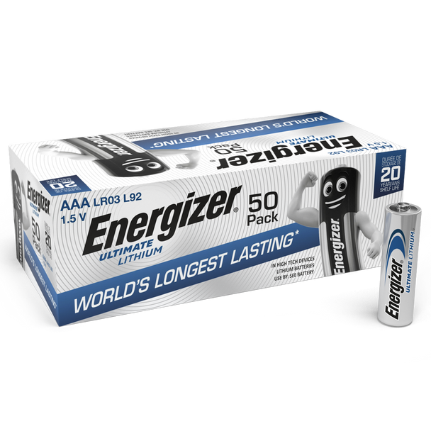 Energizer Ultimate Lithium AAA LR03 L92 Batteries   50 Pack