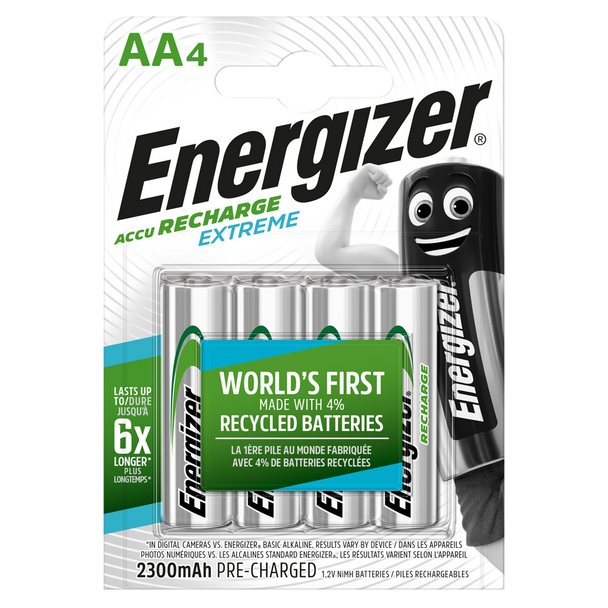 Energizer Extreme AA HR6 2300mAh Pre-charged Rechargeable Batteries | 4 Pack