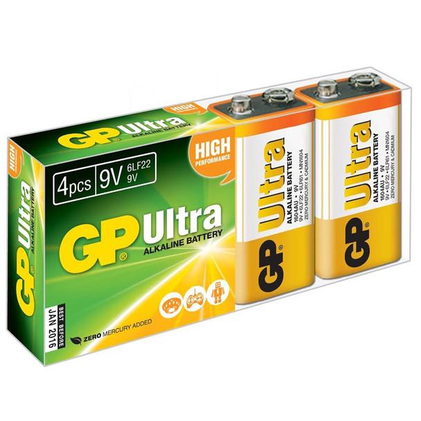 GP Ultra Alkaline 9V PP3 6LR61 Batteries | 4 Pack