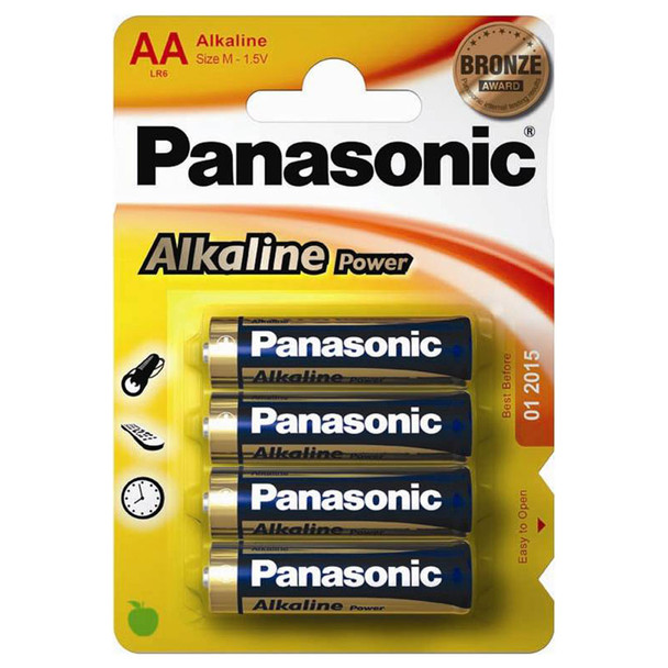 Panasonic Alkaline Power (Bronze)  AA LR6 Batteries | 4 Pack