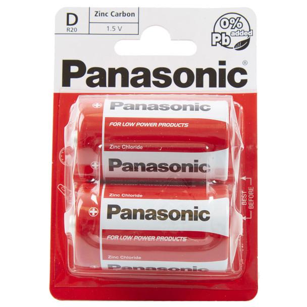 Panasonic Zinc D LR20 Batteries | 2 Pack