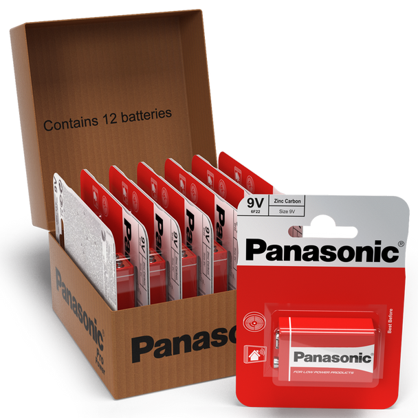 Panasonic Zinc 9V PP3 6LR61 Battery | 12 Pack