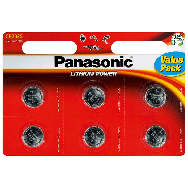 Panasonic CR2025 Coin Cell Batteries | 6 Pack