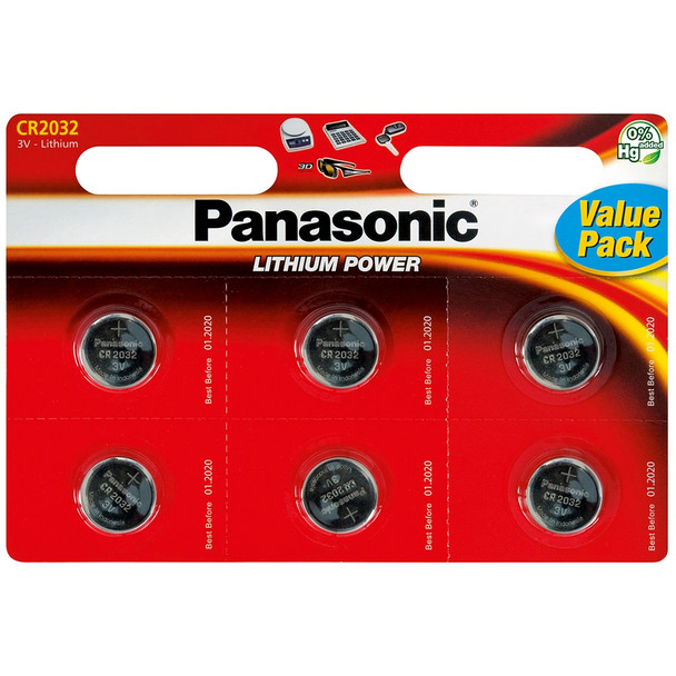 Panasonic CR2032 Coin Cell Batteries | 6 Pack