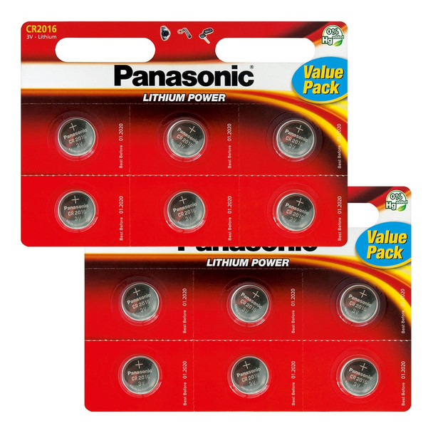 Panasonic CR2016 Coin Cell Batteries | 12 Pack