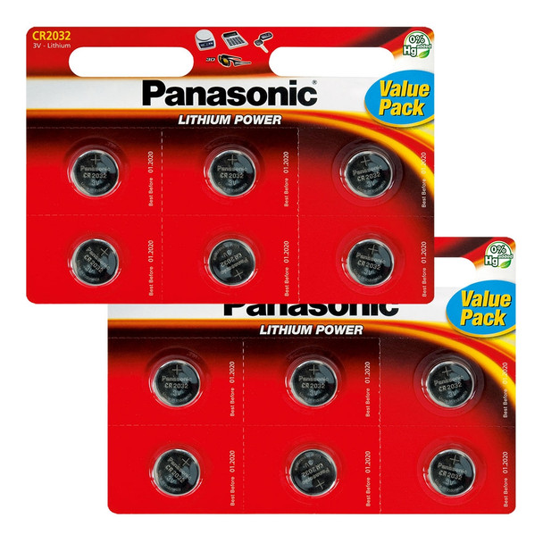Panasonic CR2032 Coin Cell Batteries | 12 Pack