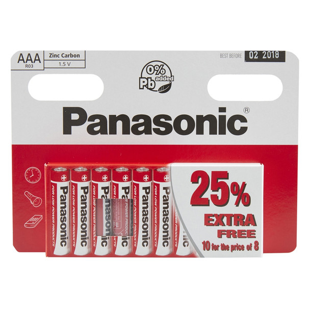 Panasonic Zinc AAA LR03 Batteries | 10 Pack