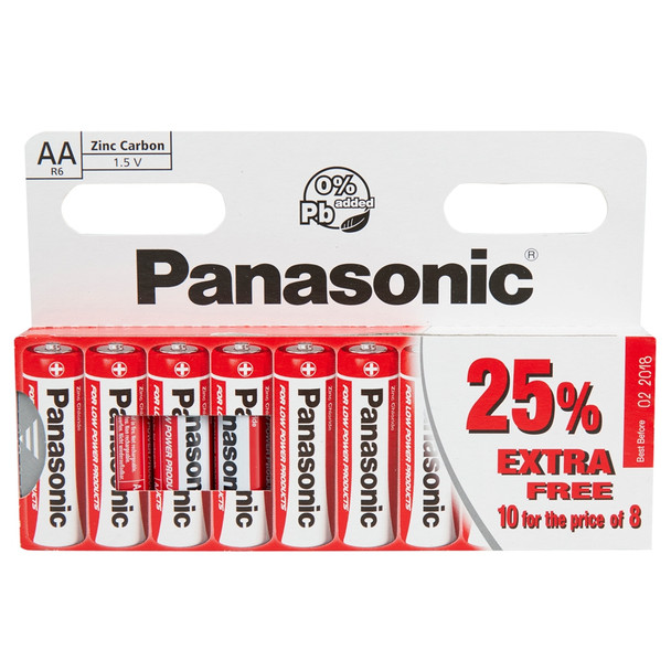 Panasonic Zinc AA LR6 Batteries | 10 Pack