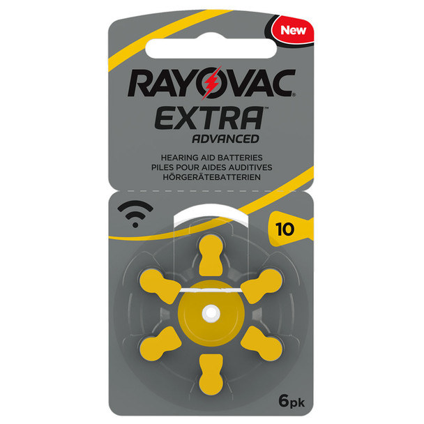 Rayovac Extra Size 10 | Yellow | Hearing Aid Batteries | 6 Pack
