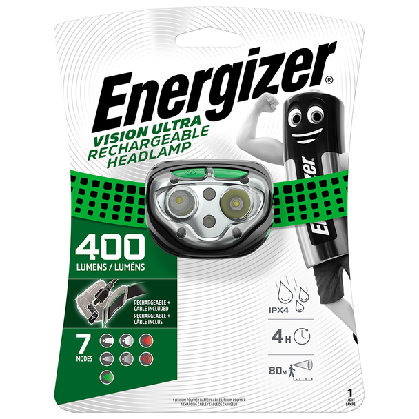 Energizer Vision Ultra HD Rechargeable Headlight | 400 Lumens